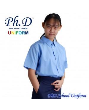 Size 9-19 PhD Blue Shirt Short Sleeve Best School Uniform   Baju Biru Sekolah Lengan Pendek Berkualiti