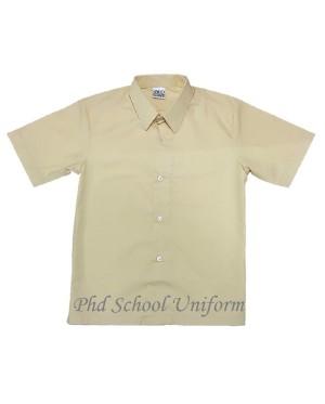 Size 10-19 PhD Beige Shirt Short Sleeve Best School Uniform | Baju Beige Seragam Sekolah Lengan Pendek Berkualiti