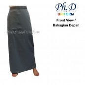 PhD School Uniform (Size XS-XXL) Grey Maxi | Long Skirt | Skirt Kain Labuh Kelabu Sekolah Berlipatan Belakang