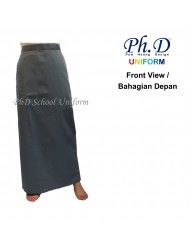 PhD School Uniform (Size SS-XXL) Maxi   Long Skirt   Skirt Labuh Sekolah Berlipatan Belakang - Grey