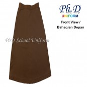 PhD School Uniform (Size 24-28 & XS,S-XXL) Brown Maxi | Long Skirt | Skirt Labuh Coklat Sekolah Berlipatan Belakang