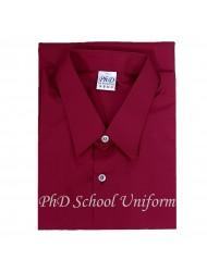 PhD Maroon Shirt S/Sleeve Best School Uniform Custom Made | Tempahan Baju Sekolah Merah Maroon Berkualiti Seragam Lengan Pendek